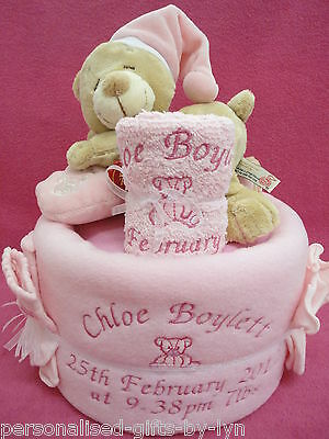 Personalised Nappy Cake - Baby's Gift Basket  Sleepy teddy in pink or blue