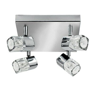 Chrome Finish 4 Light Halogen Spotlight With Ice Cube Style Glass 7884Cc