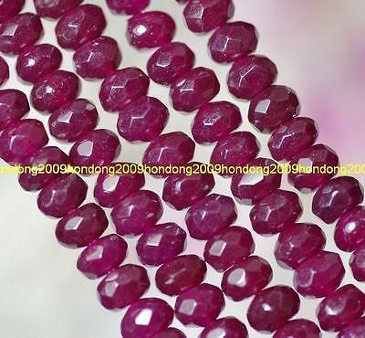 """Faceted 4x6mm Brazilian Ruby Gem Abacus Loose Bead 15"""" AAA"""