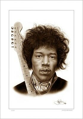 Jimmy Hendrix    Rock Guitar    Drawing          Limited Edition