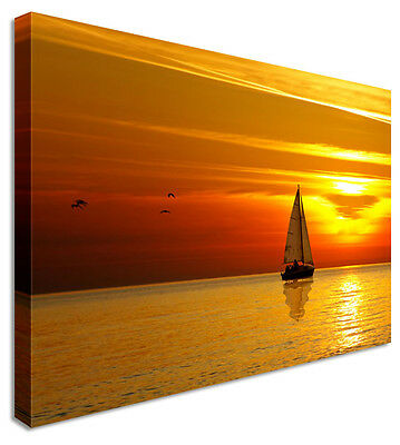 Yacht Sunset Landscape Canvas Picture - Large+ Any Size