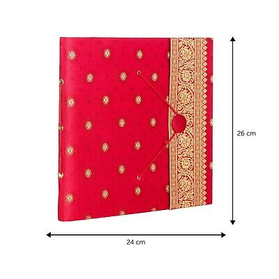 Fair Trade Handmade Large Sari Photo Album Scrapbook Red