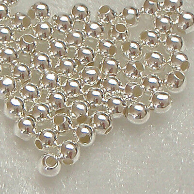 50 x 3mm Sterling Silver Round Seamless Spacer Beads