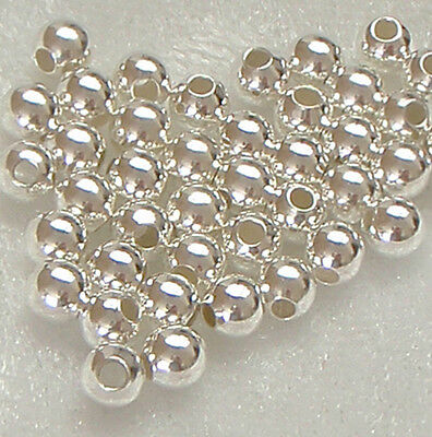 50 x 4mm Sterling Silver Round Seamless Spacer Beads
