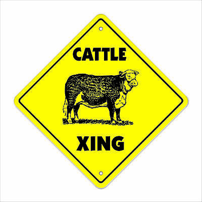 """Cattle Crossing Sign Zone Xing 12"""" Tall steer cow dairy milk farm hay field"""