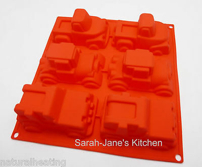 6 RED 4x4 PICK UP TRUCK HOT ROD CAR Silicone Bakeware Mould Cake Jelly Icecream
