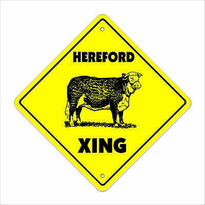 """Hereford Crossing Sign Zone Xing 12"""" Tall cow cattle steet farm milk dairy"""
