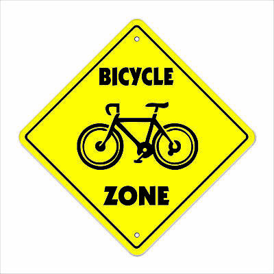 """Bicycle Crossing Sign Zone Xing 12"""" Tall bike ride mountain road tire pump tube"""