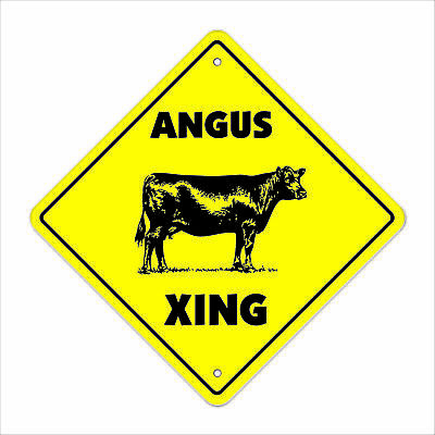 "Angus Crossing Sign Zone Xing 12"" Tall cattle cow steer beef steak meat"