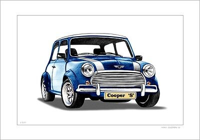 Mini  Cooper   'S'         Limited Edition  Print   Car Drawing