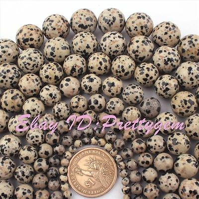 """4,6,8,10,12mm Natural Multicolor Round Dalmatian GemStone Beads Loose Strand 15"""""""