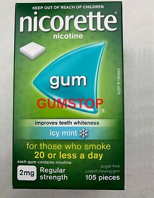 Nicorette Nicotine Gum 2 mg Icy Mint Flavor (1050 Pieces, 10 Boxes) FRESH
