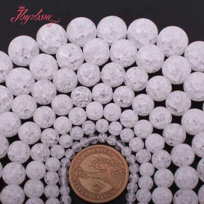 4,6,8,10,12mm Round Cracked Smooth White Crystal Rock Quartz Gemstone Beads 15""