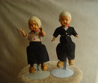 VINTAGE PAIR OF CELLULOID DUTCH DOLLS MADE IN GERMANY INITIALS VH