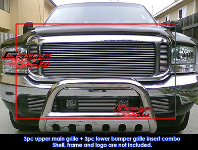 Fits Ford F250/F350/F450 Super Duty 99-04/Excursion Billet Grill Combo 00-04