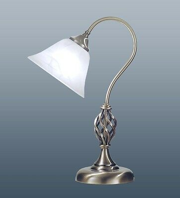 Classic Satin Chrome Finish Table Lamp With White Alabaster Glass Shade
