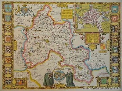 Old Copy Of John Speed Map Of Oxfordshire With Town Plan Colleges Arms1605