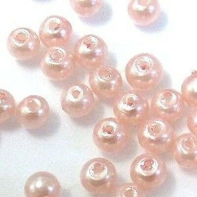 100 pieces Pale Pink Glass Pearl Beads / K1002 - 8mm