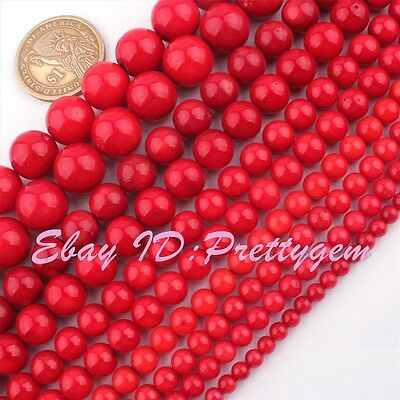 """2,3,4,6,8,10mm Round Red Coral Natural Gemstone Beads For DIY Loose Strand 15"""""""