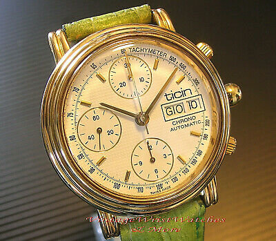 Orologio  TICIN   -  Chrono Automatic Day Date  -  Fine 1980 -  Vintage Watch