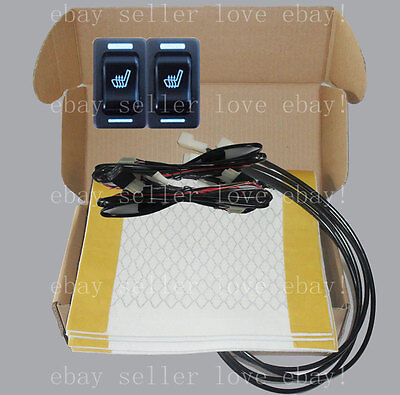Hi-off-Lo rectangle switch seat heater,2 seats heated seat kit,fit all 12V cars