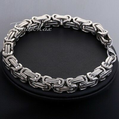 8mm Mens Stainless Steel Bracelet Chain Silver Tone Box Byzantine 7-11inch