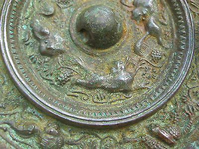 """Masterpiece antique Chinese bronze mirror 4 suani & grapes, 5"""" Sui – Early Tang"""