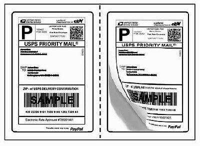 """Perforated 1000 Quality Round Corner Shipping Labels 2/Sheet 7.5"""" x 5.125"""""""