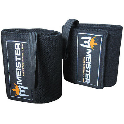 BLACK WRIST WRAPS Elastic Support Weight Lifting w/ Thumb Loop - Meister Straps