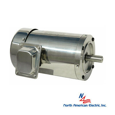 1/3 hp electric motor 56c 3 phase stainless steel washdown round 1800 rpm