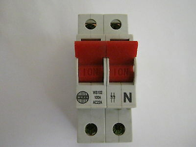 Wylex Ws102 Ac22A 100A Nh Main Switch Double Pole Incomer Circuit Breaker