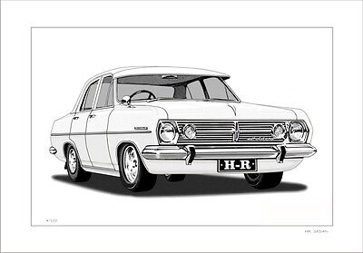 66'  67'  Hr Holden Sedan 179 Gmh Drawing Print  ( 6 Different Car Colours)