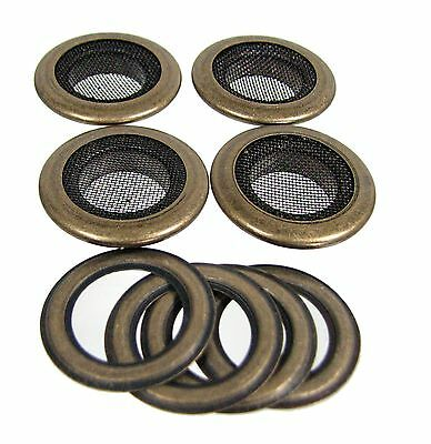 """Cigar Box Guitar Parts: 4pc. 1"""" Antique Brass Screened Grommets 32-27-01"""
