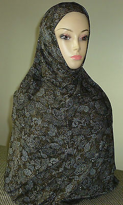 Fancy Hijab 2 Piece Amira Hejab Islam Headscarf Long Floral Design w/Sequins #13