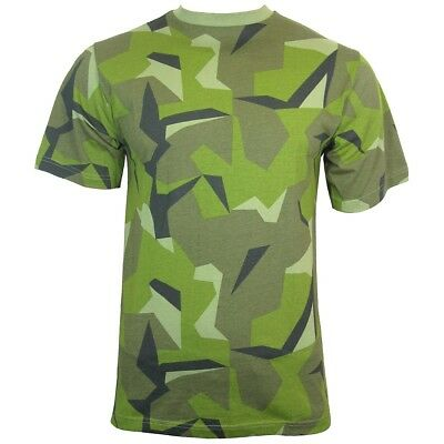 SWEDISH Army Camo Short Sleeve T-shirt - ALL SIZES - Camouflage Top Military New