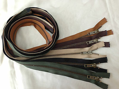 "32"" (81CM)YKK Open Ended Antique Brass Metal Jacket Zips x1-Variation Of Colours"