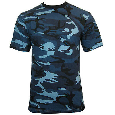 Blue Urban CAMO Army T-Shirt - ALL SIZES - Cotton Camouflage Tops Military New