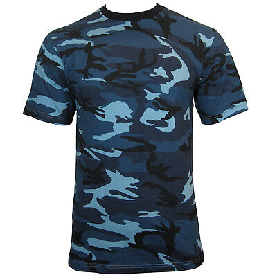 Blue Urban Camo Army T-Shirt - Cotton Camouflage Tops Military All Sizes New