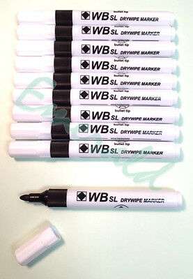 10 x Whiteboard Drywipe Marker Pens Bullet Tip, Black Red Blue Green or Assorted