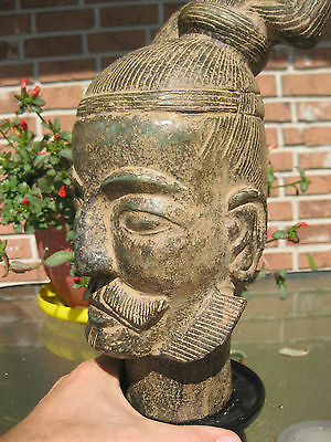 "Chinese Archaic carved stone Warrier Head, Qin dynasty (?), 12"" = 30 cm"
