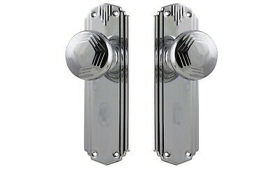 "DOOR KNOBS-""BONDI""-BRIGHT CHROME-PERIOD deco style retro VINTAGE HANDLE SET"