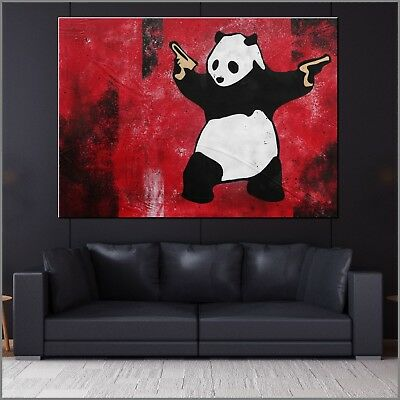 BANKSY RESPRAY (A REAL PAINTING!) FRAMED & GLOSSED 140cm x 100cm Panda Guns