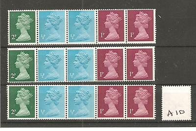 Gb - Machin  Definitives - A10- Machine  Coil - Three  Strips - Unmounted Mint