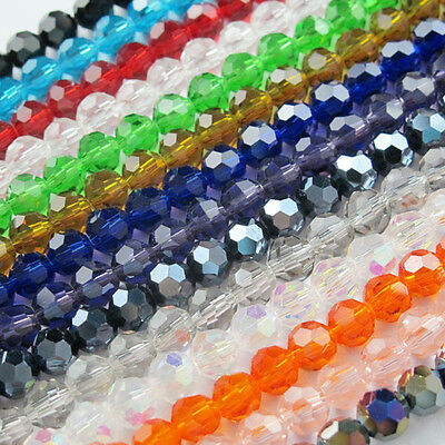 Ball Faceted Glass Crystal Spacer bead 17Color-1 Or Mixed 4mm,6mm,8mm,10mm R319
