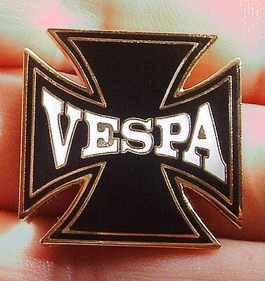 Vespa Mods Classic Iron Cross Metal & Enamel Type Pin Badge