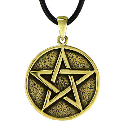 Bronze Pentacle Gold Color Pendant Wiccan Pagan Protection Amulet Witch Jewelry