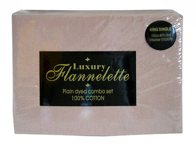 100% Cotton Flannelette Fitted Sheet & One Pillowcase set Single Bed in Linen
