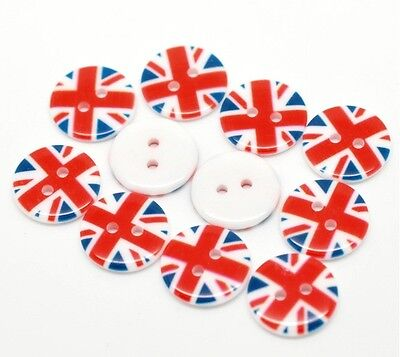 """100x Wholesale Union Jack 2 Holes Resin Sewing Buttons Scrapbooking 18mm (3/4"""")"""