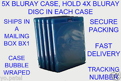 5x Blu Ray Case, Hold 4 Blu-Ray Disc, Clear Plastic on front for Artwork, 15mm