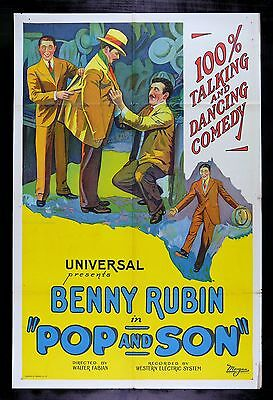 POP AND SON * CineMasterpieces COMEDY VAUDEVILLE BENNY RUBIN MOVIE POSTER 1929